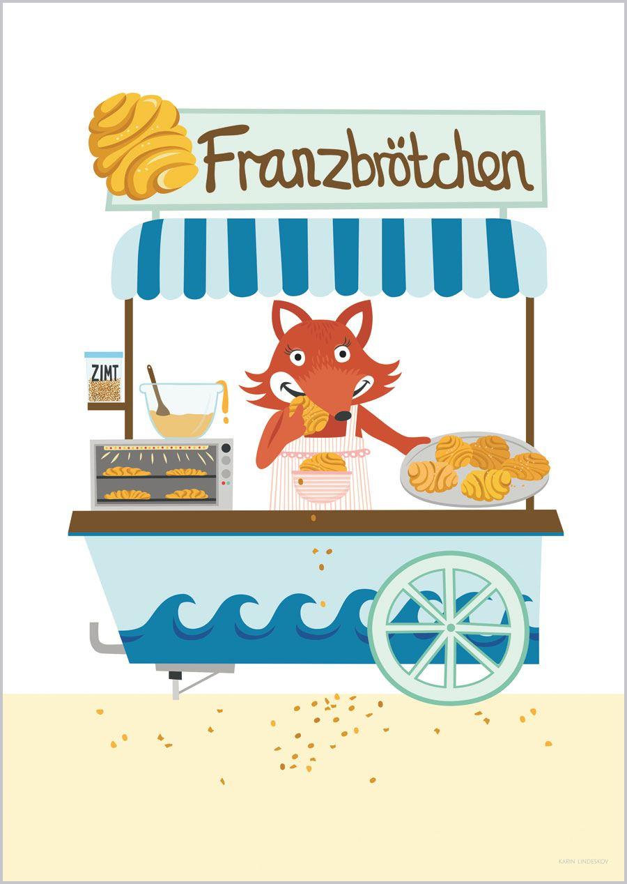 Fuchs mit Franzbrötchen Print (Din A3)