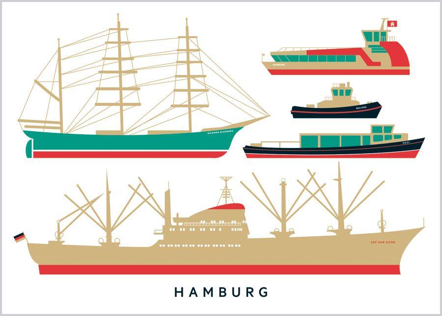 Hamburg Schiffe Postkarte
