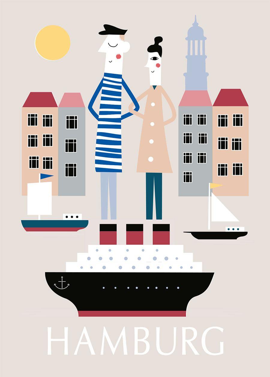 Hamburg Elbsonne Postkarte
