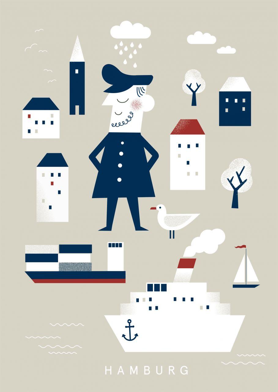 Hamburg Kapitän & Möwe 1 Postkarte