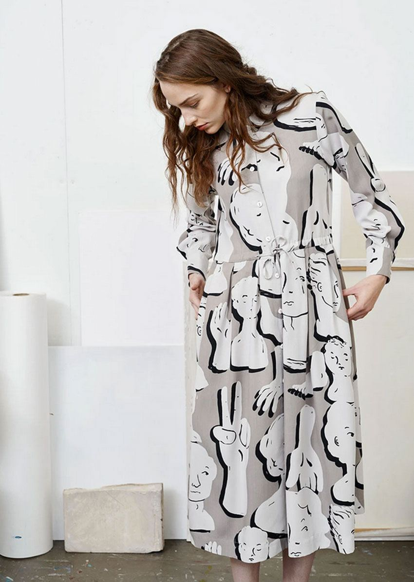 Swing Gown Sculptures Dress Canvas Grey Dark Grey Black