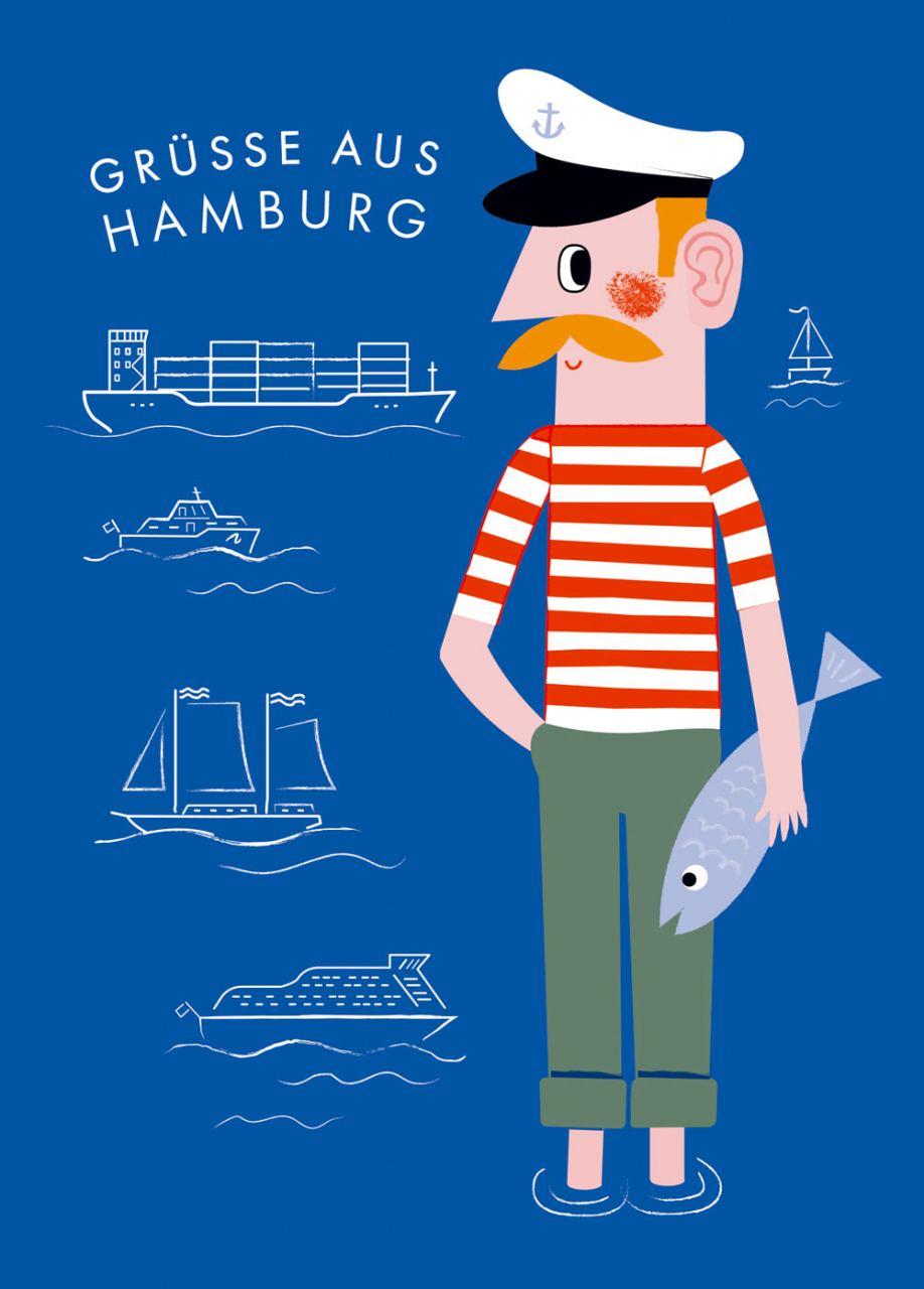 Hamburg Jörn Grüsse Blau Postkarte