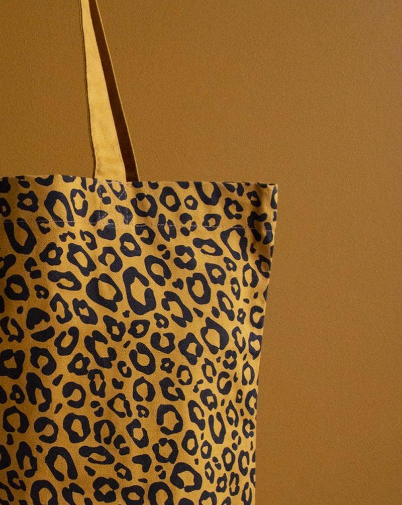 Shopper Baumwolle Leopard Caramel