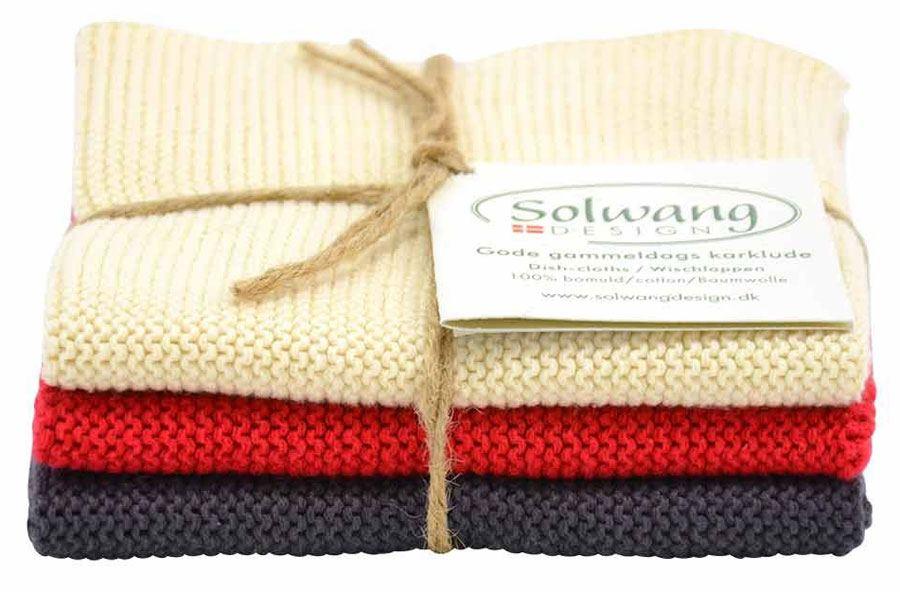 Solwang Wischtuch Natur / Warmes Rot / Grau