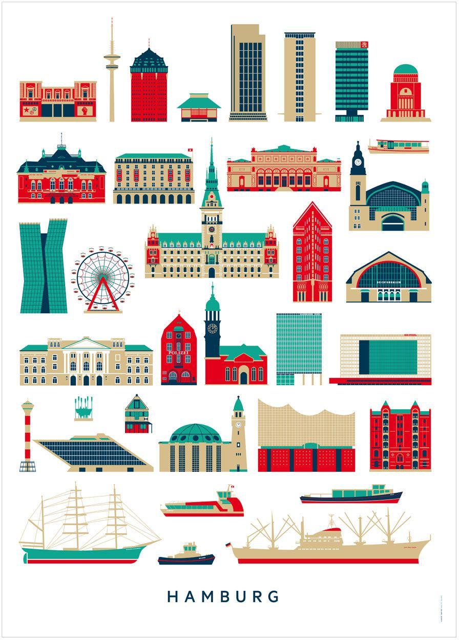 Hamburg Sehenswürdigkeiten Poster (50x70cm)