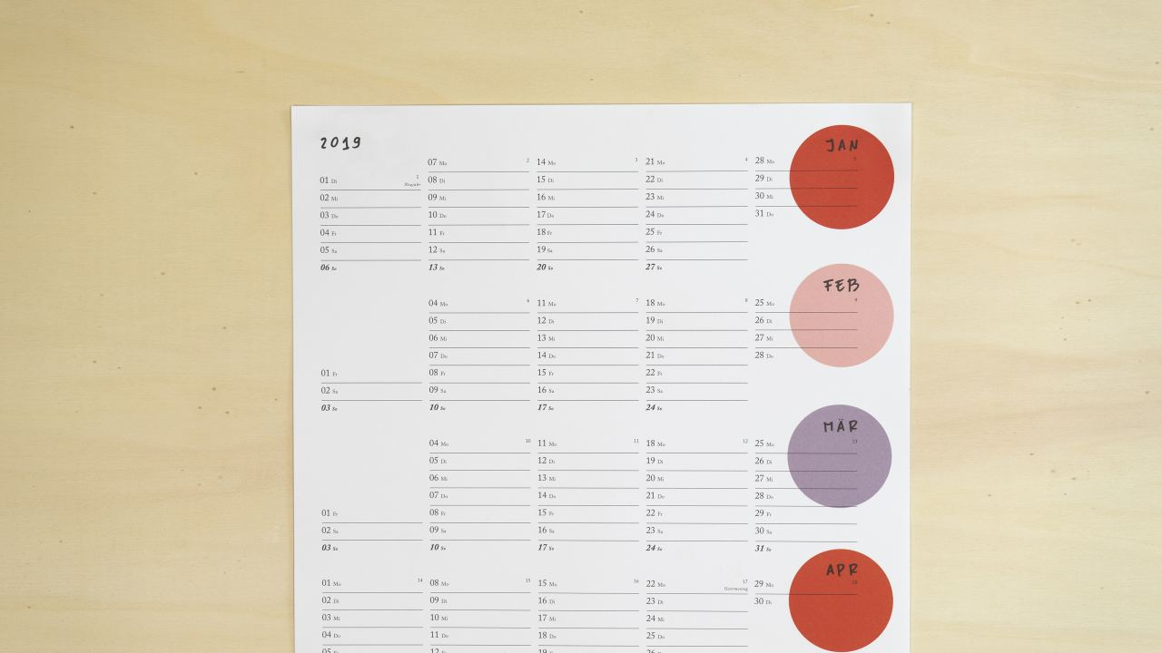 Dots Red Kalender 2019