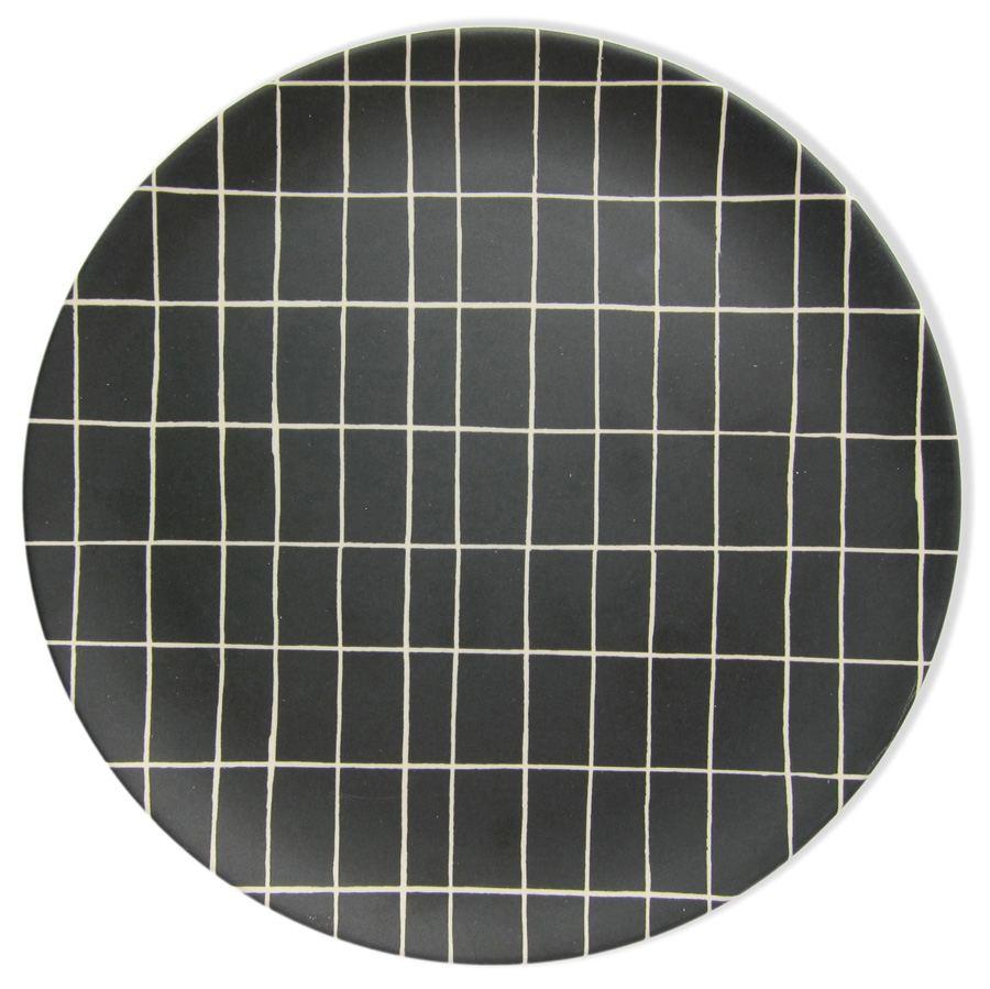 Bambus Teller Black Grid
