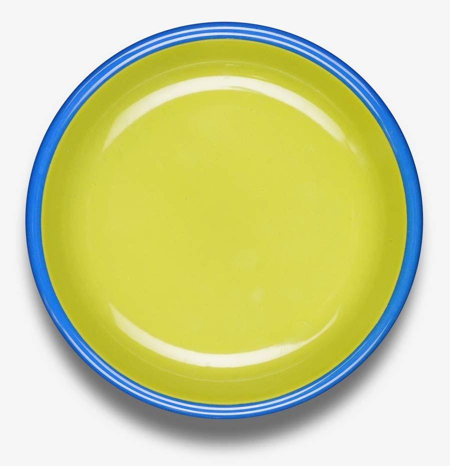 Colorama Plate Chartreuse w/ Electric Blue Rim