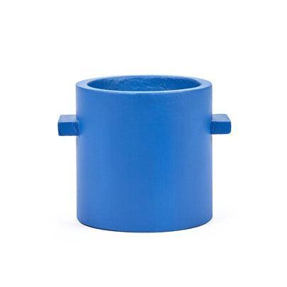 Runder Übertopf Beton Blau L