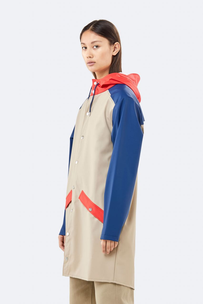 Color Block Long Jacket Beige Blue