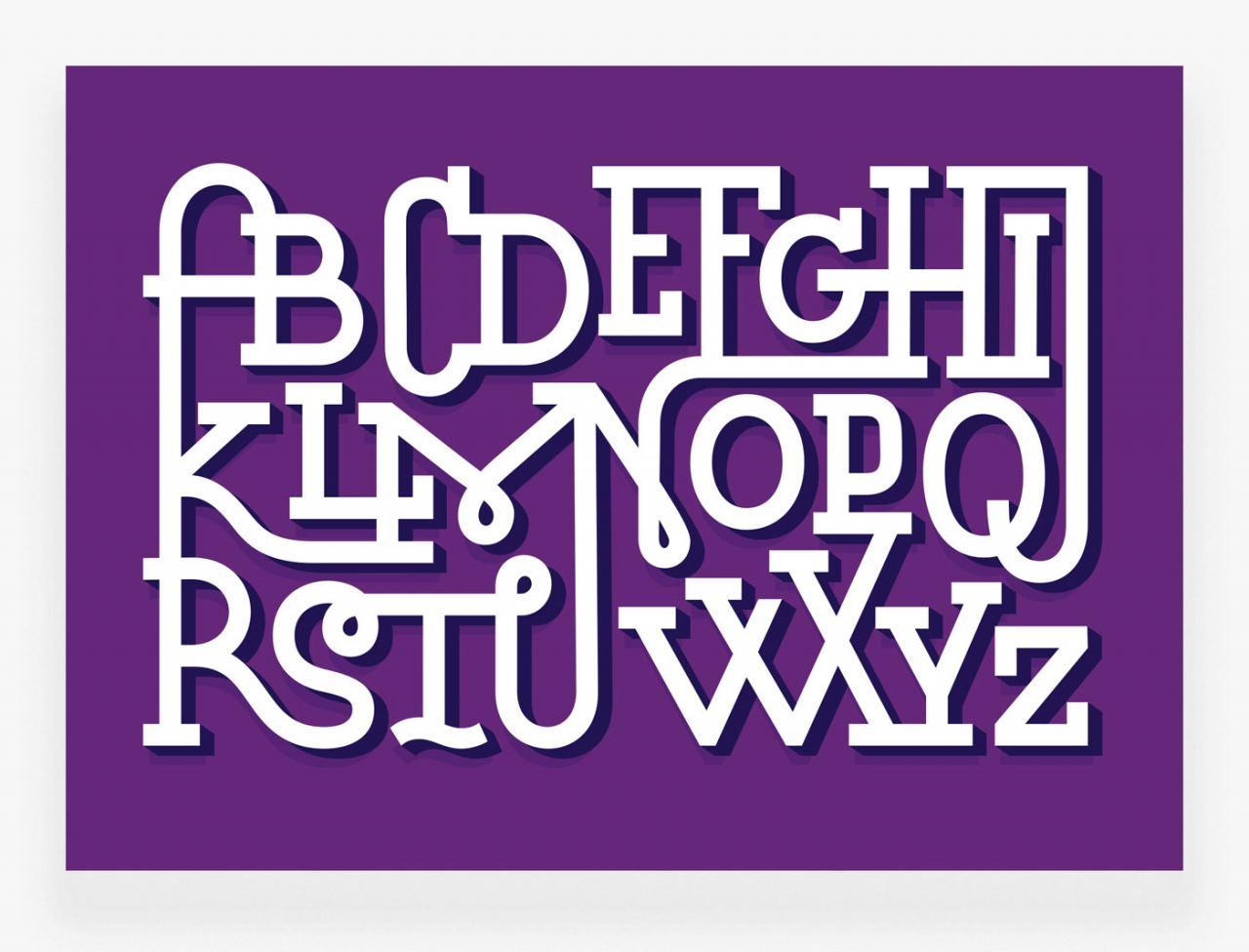 Ligaturen Alphabet Lila Karte