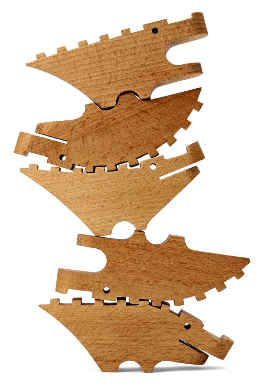 Holzstapelspiel Croc Pile 5er-Set