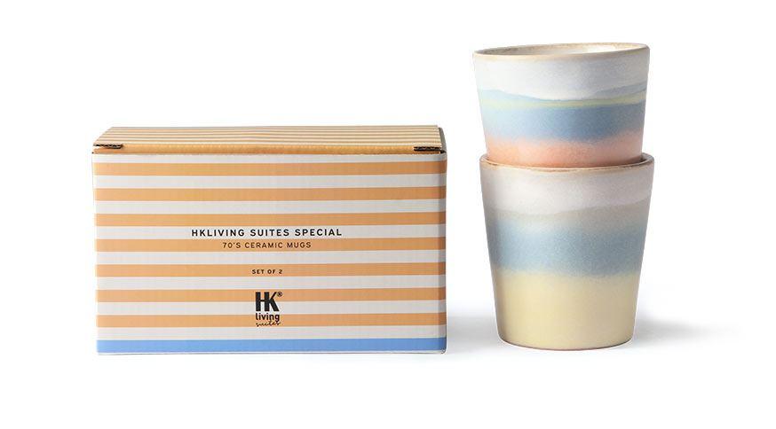 HK Living suites special: Ceramic 70's Mugs Horizon (Set of 2)