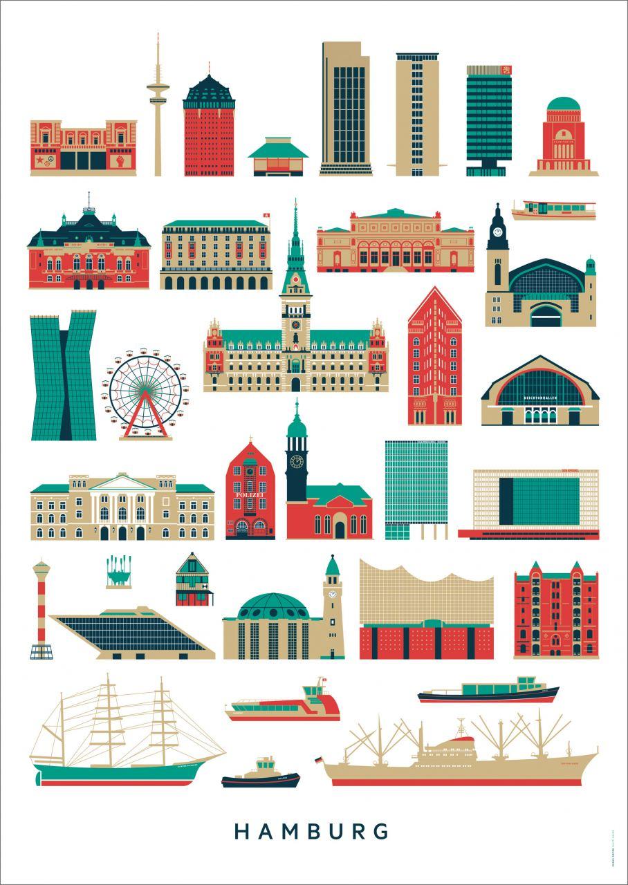Hamburg Sehenswürdigkeiten Poster