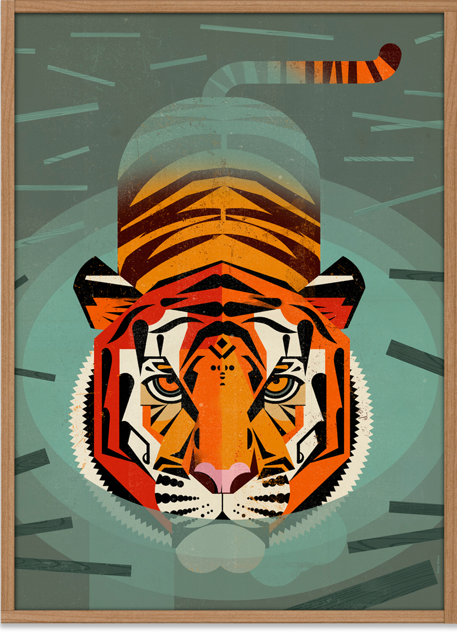 swimming tiger poster 50 x 70 cm dieter braun human empire shop. Black Bedroom Furniture Sets. Home Design Ideas