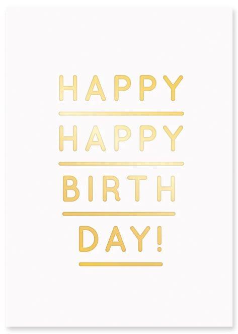 Happy Happy Birthday Gold Postkarte