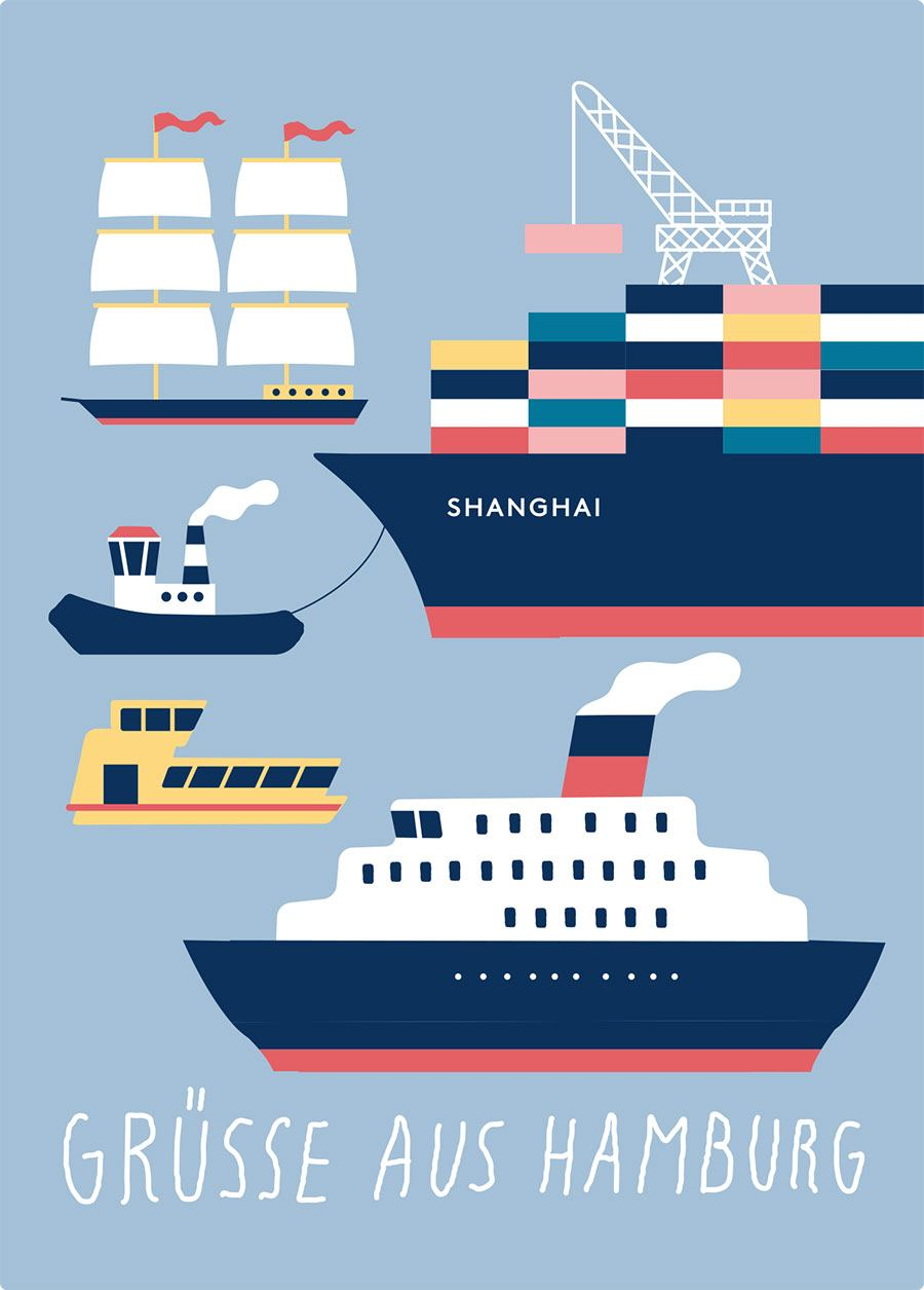 Hamburg Schiffe Grau Postkarte
