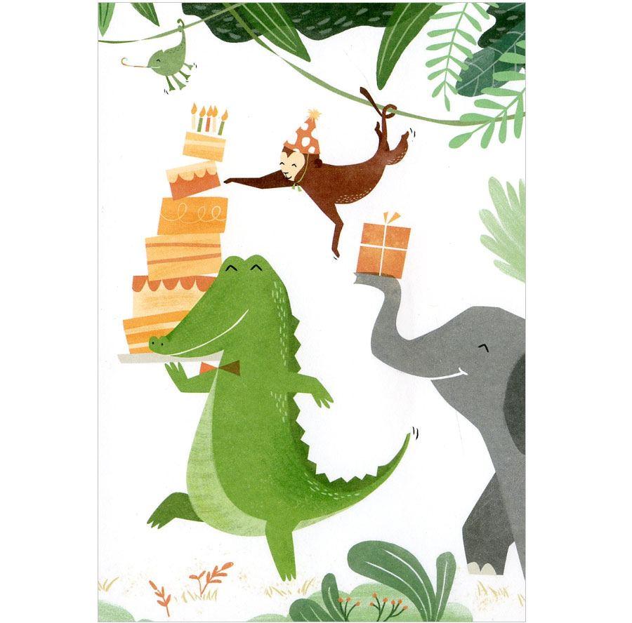 Wild Birthday Krokodil Postkarte