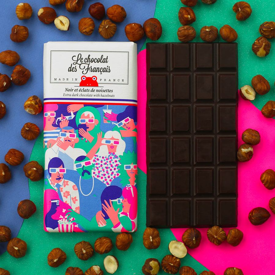 Le Cinéma Dunkle Schokolade mit ganzen Haselnüssen
