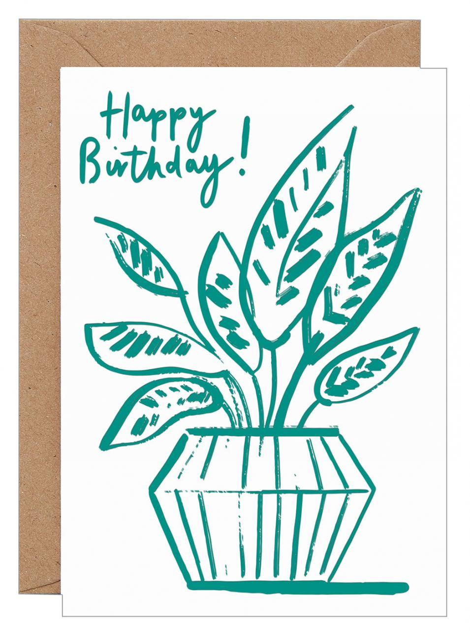 Happy Birthday Prayer Leaf Klappkarte (Letterpress)