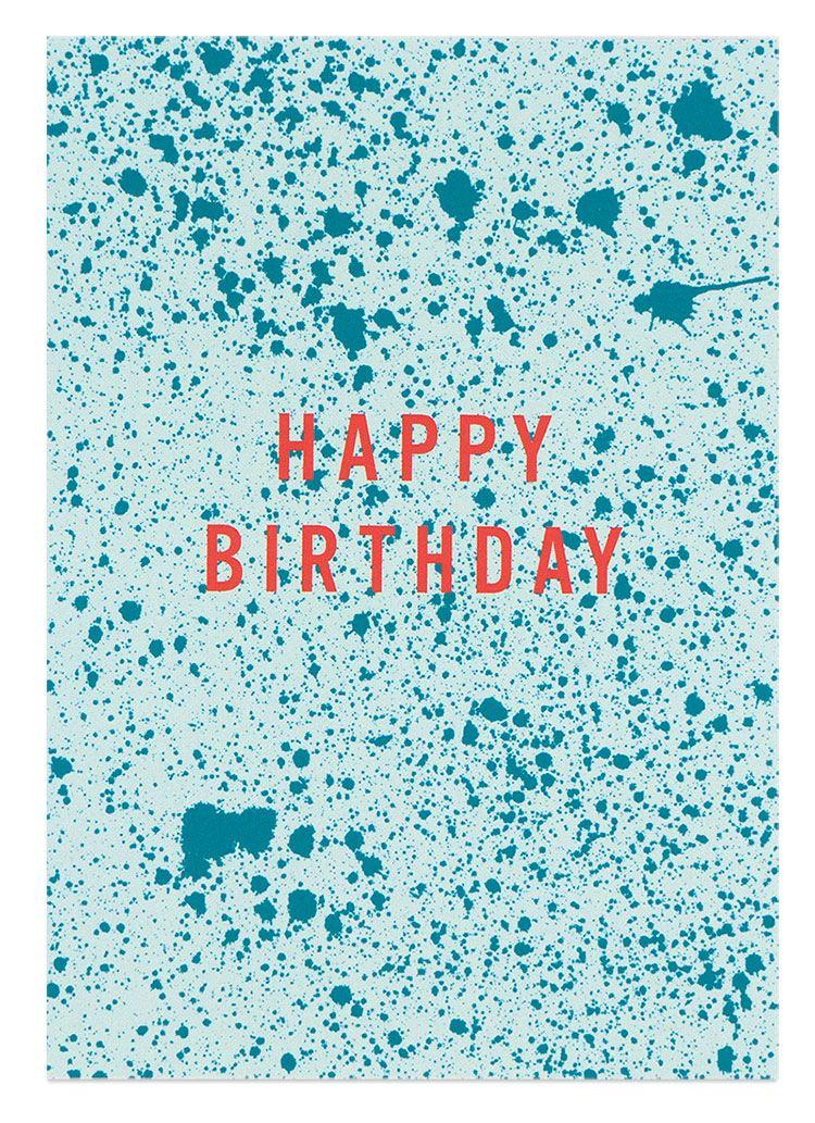 Happy Birthday Sprenkel Türkis Mint Postkarte