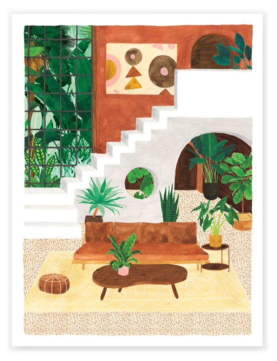Vintage Living Room Print (29,7 x 39,7cm)