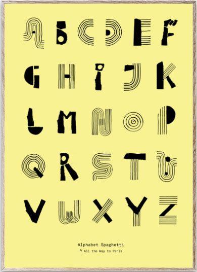 Alphabet Spaghetti Yellow Poster (50x70cm)