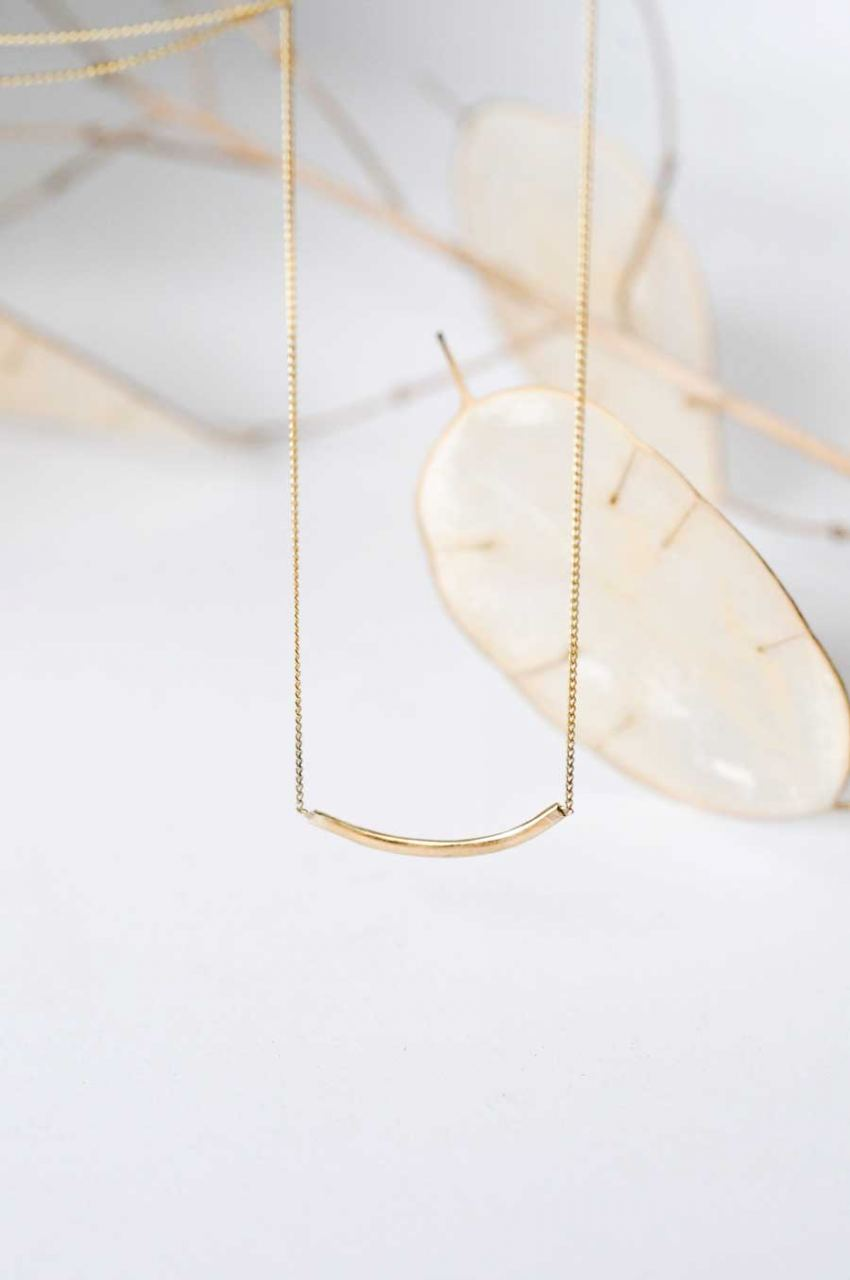Gold Delicate Curve Kette 40cm
