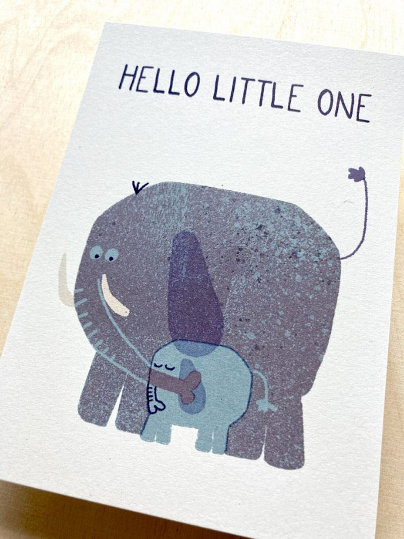 Hello little one Elephant Postkarte