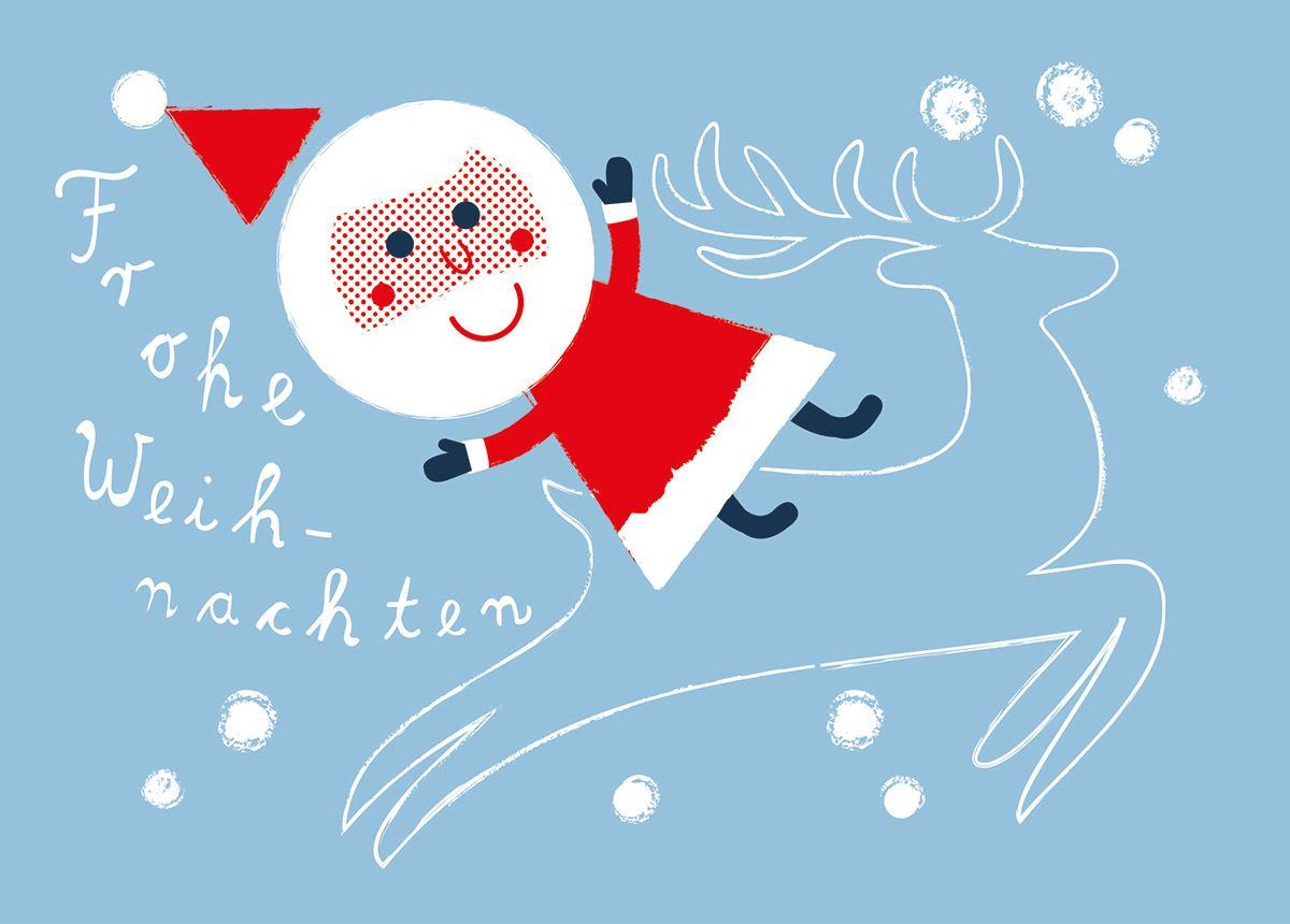 Weihnachtsmann & Rentier Hellblau Postkarte