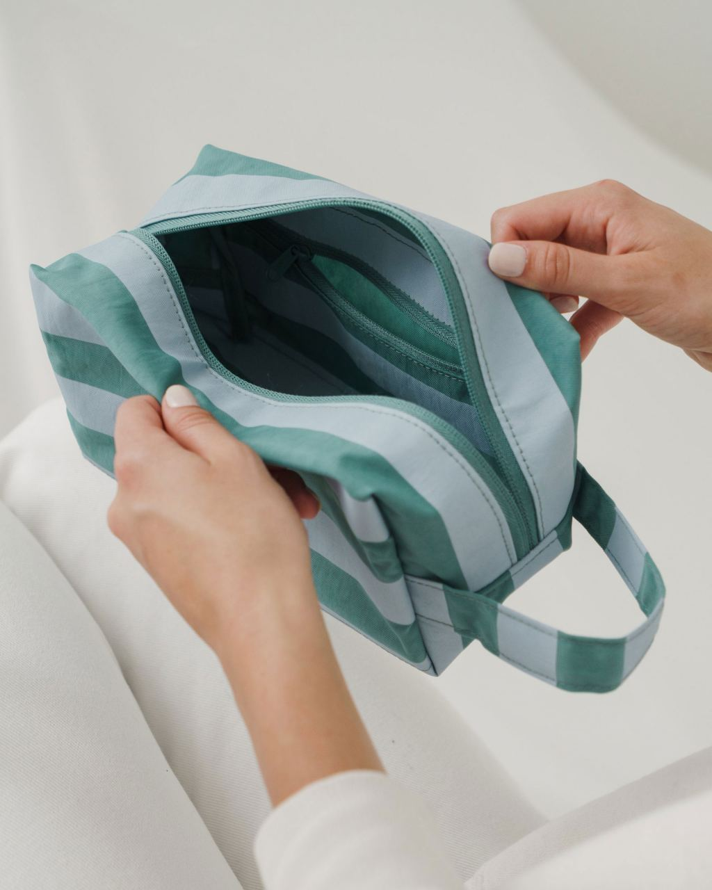 Dopp Kit Teal Stripe