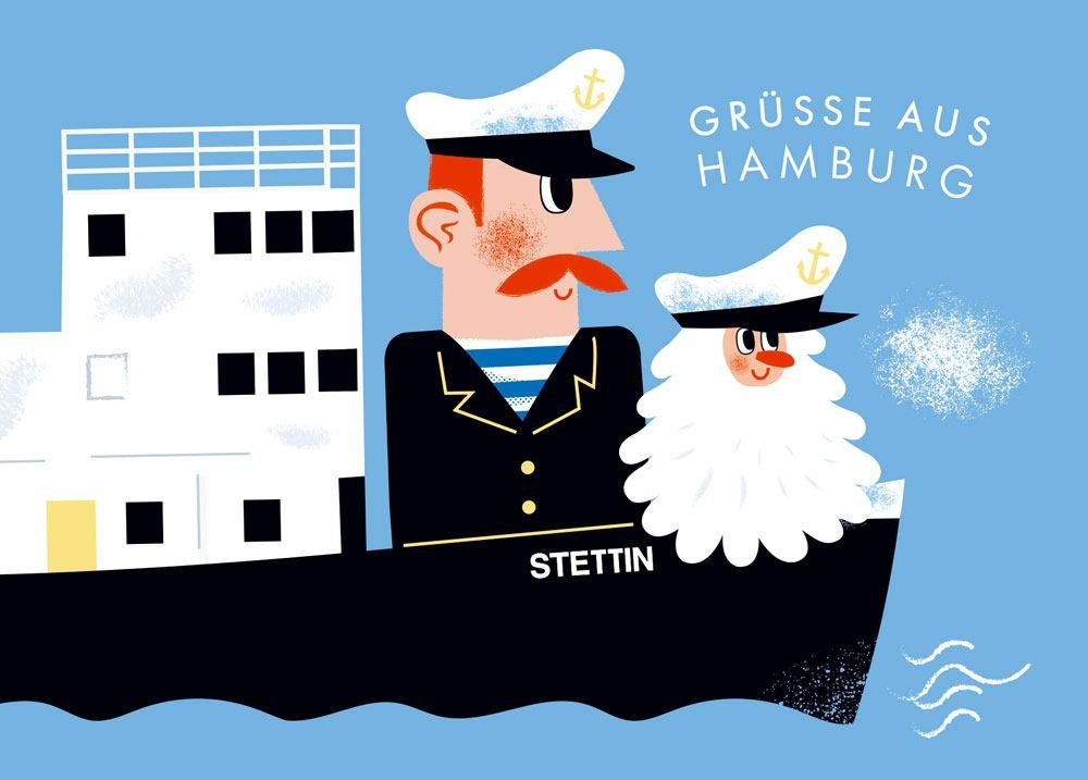 Hamburg Grüsse Stettin Postkarte