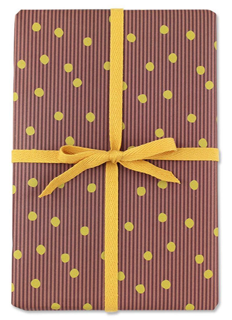 Geschenkpapier Streifen Rot mit Punkten