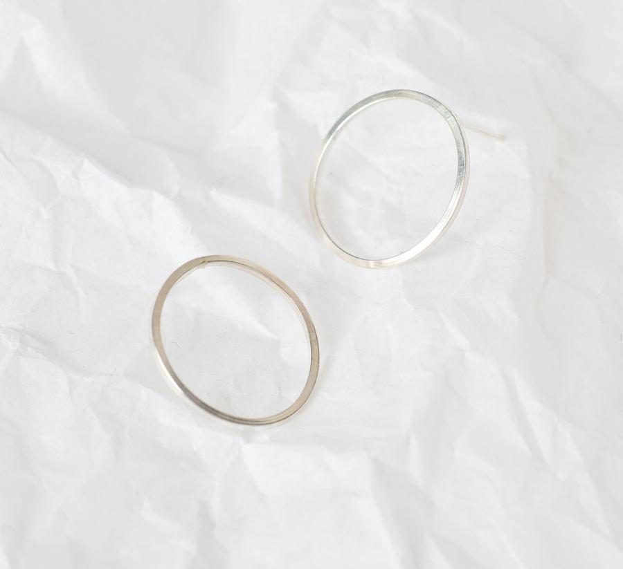 Silver Minimal Squared Circle Ohrringe