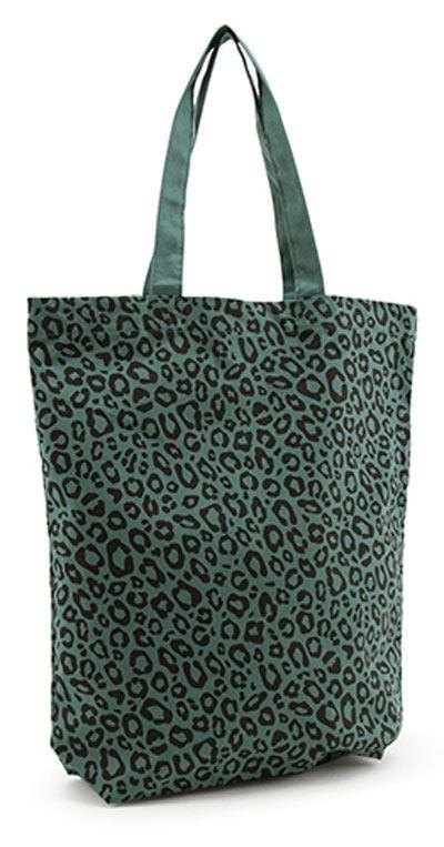 Shopper Baumwolle Leopard Forest Green