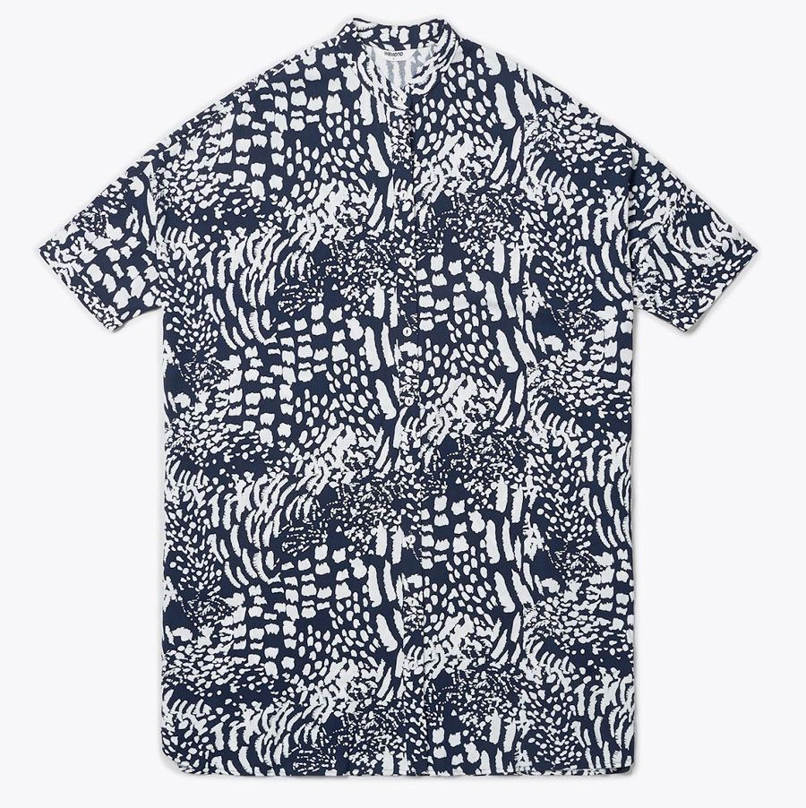 Hume Printed Bluse Navy Blue Off White