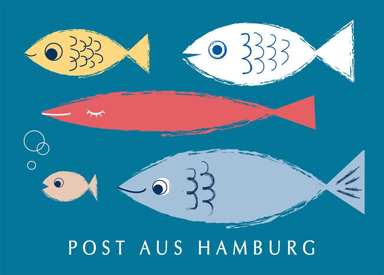 Hamburg Fische Grün Postkarte