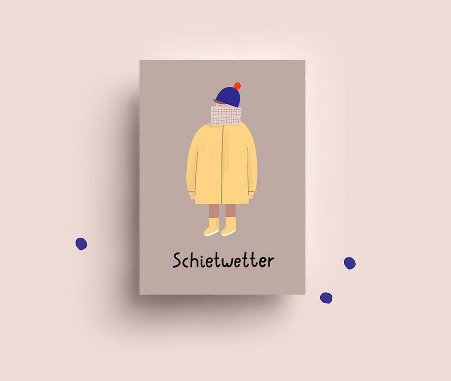 Schietwetter Gelb Postkarte