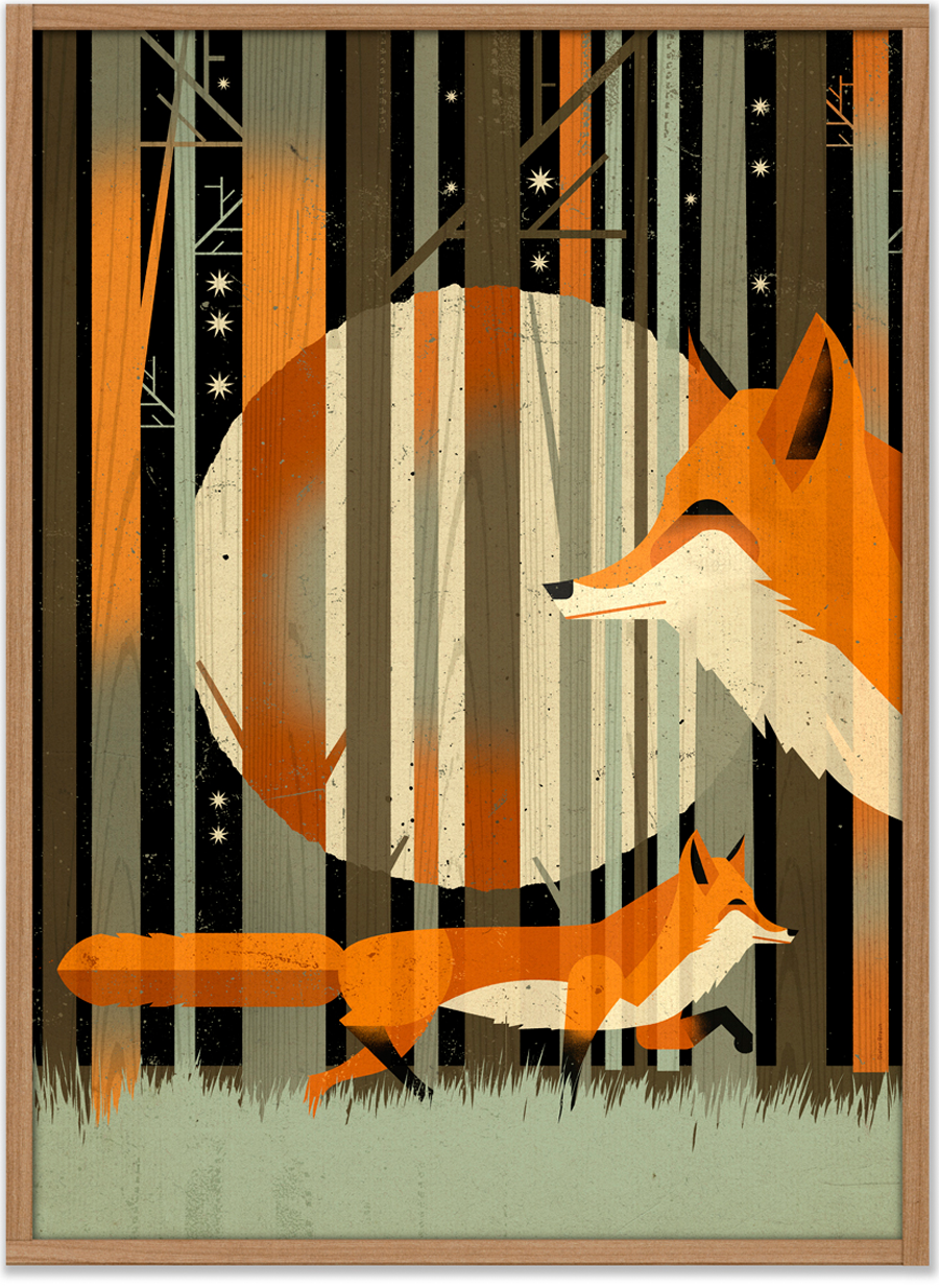 Fox in the night Poster (50 x 70 cm)