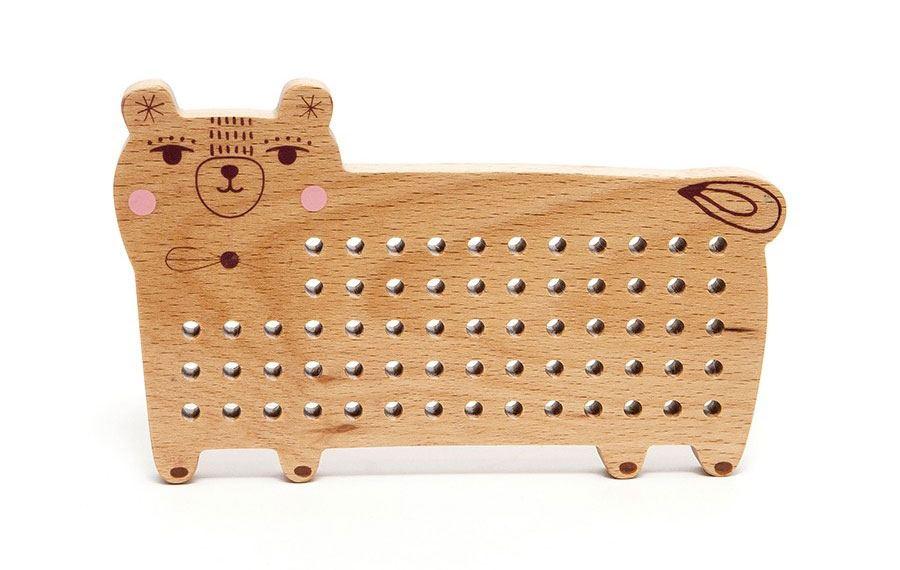 Bär Kreuzstich-Spiel aus Holz