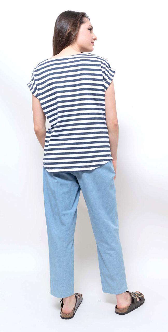 Bell Stripe Shirt Navy Blue