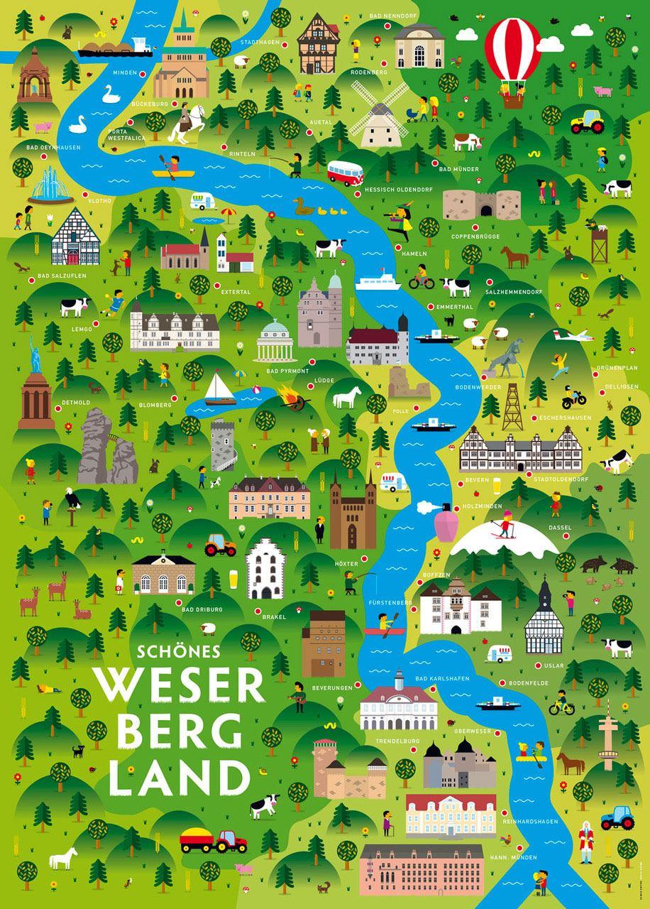 Schönes Weserbergland Poster (50 x 70 cm)