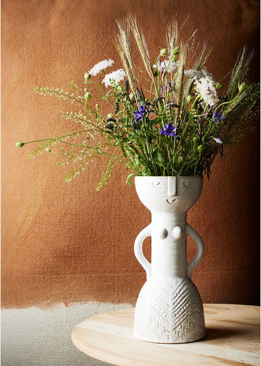 Steingut Vase White Woman Imprint