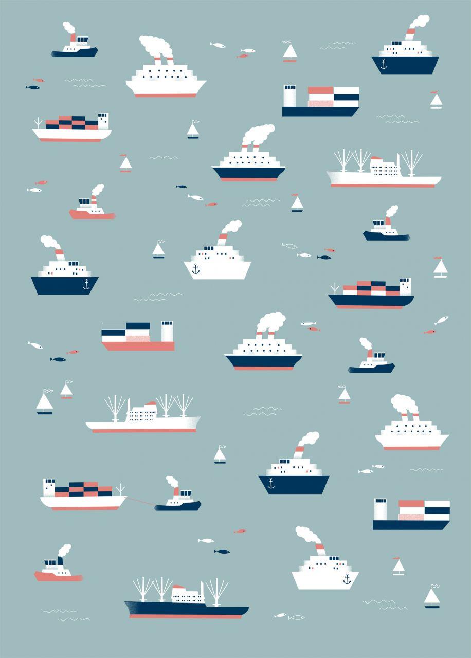 Schiffe Hellgrau Geschenkpapier