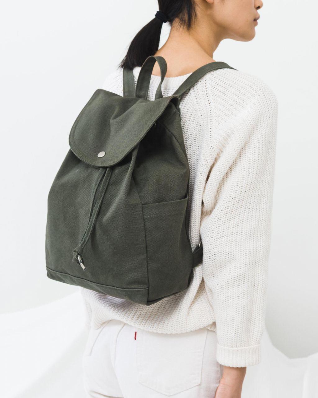 Drawstring Backpack Dark Olive