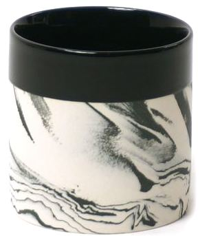 Becher S Cyl Marble w Black