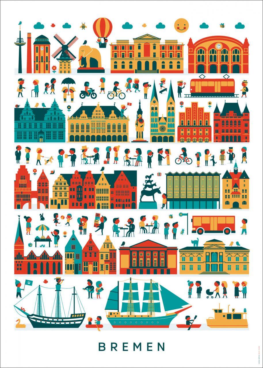 Bremen Wimmelbild Poster (50 x 70 cm)