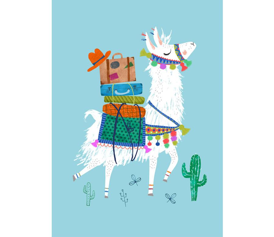 Travelling Lama Postkarte