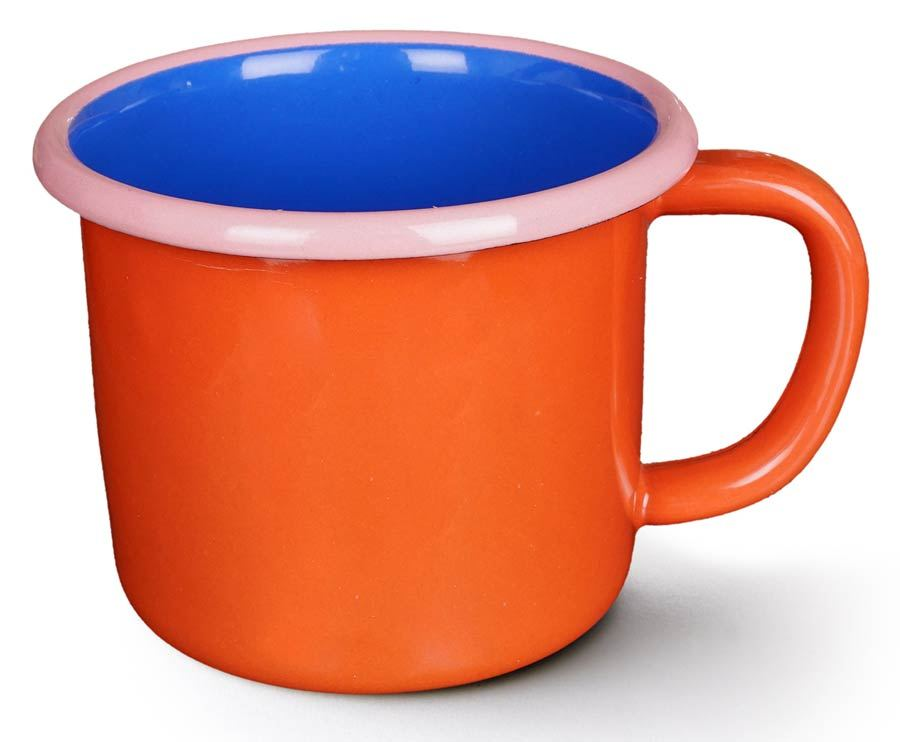 Colorama Mug Coral and Electric Blue w/ Soft Pink Rim