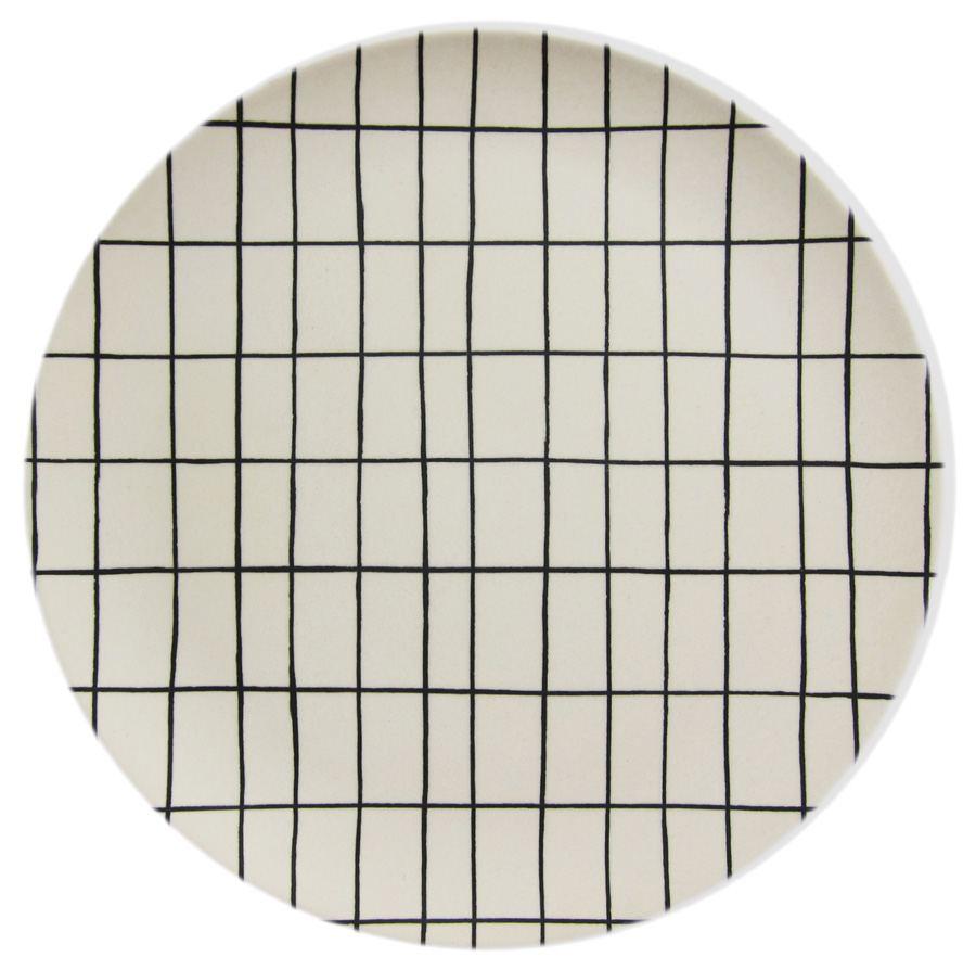 Bambus Teller White Grid
